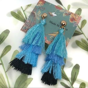 Liv blue multi 4-layer MINI tassel earrings